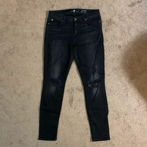 7 For All Mankind Black w/ Gray Fade & Distressing